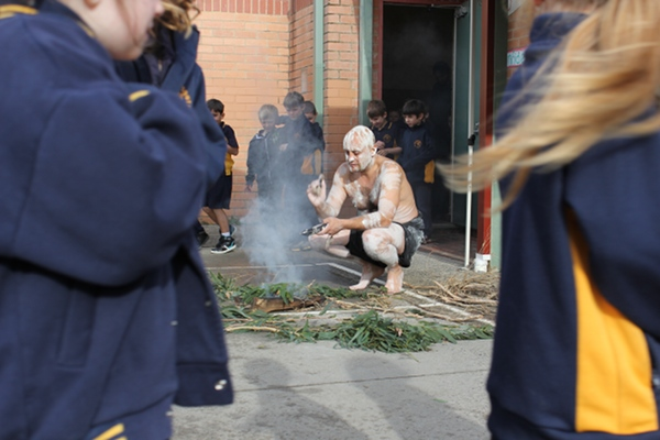 The smoking ceremony, led by Uncle Bill.